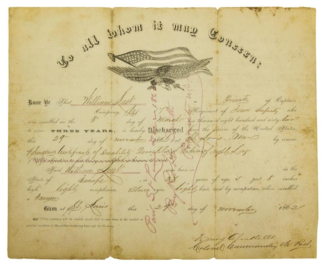 (2) U.S. CIVIL WAR MILITARY DISCHARGE CERTIFICATES - 4