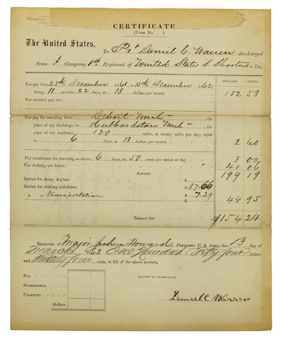 (2) U.S. CIVIL WAR DISCHARGE, SHARP SHOOTER & NAVY - 5