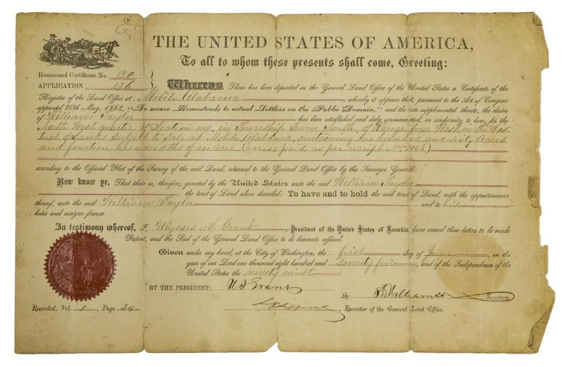 ULYSSES S. GRANT SIGNED LAND DEED, 1875