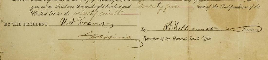 ULYSSES S. GRANT SIGNED LAND DEED, 1875 - 4