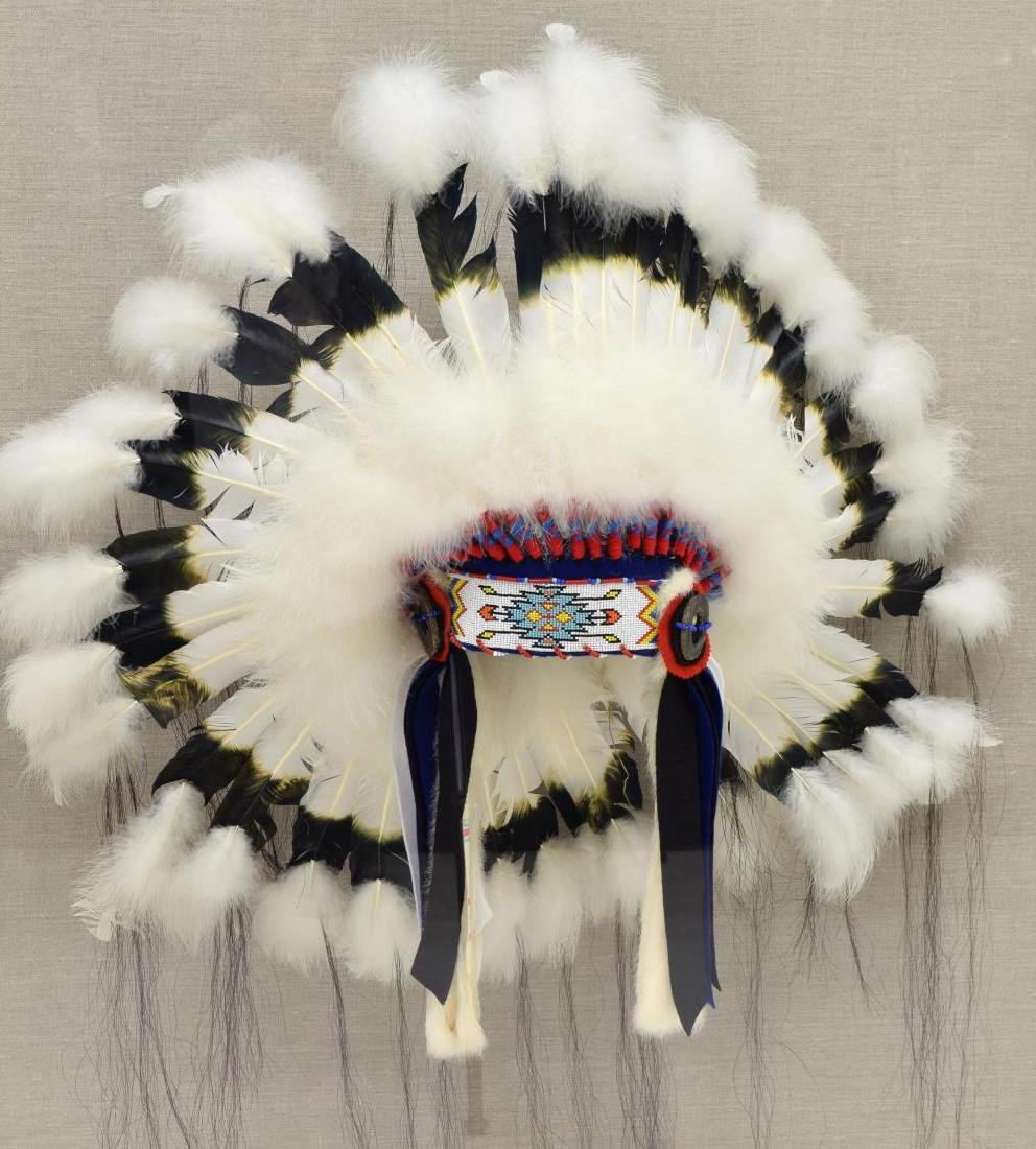 DECORATIVE NATIVE AMERICAN HEADDRESS IN PLEXI CASE
