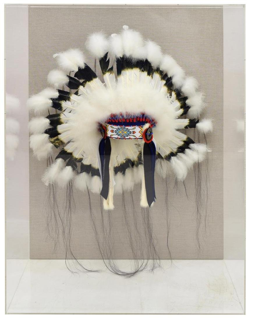 DECORATIVE NATIVE AMERICAN HEADDRESS IN PLEXI CASE - 2