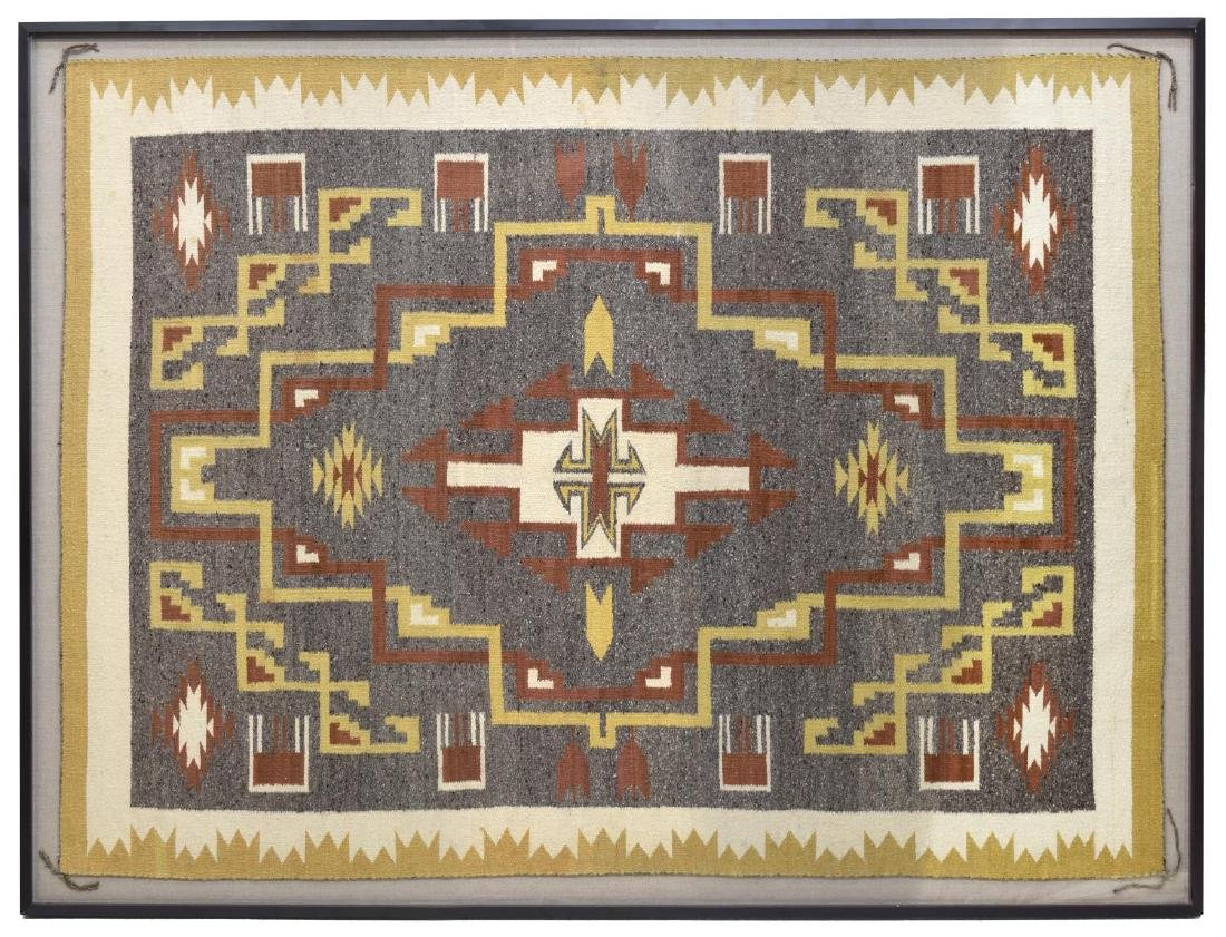 FRAMED NAVAJO BURNTWATER WOVEN RUG