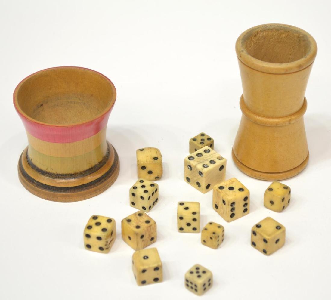 (15) ANTIQUE BONE DICE & WOOD DICE CUPS - 2