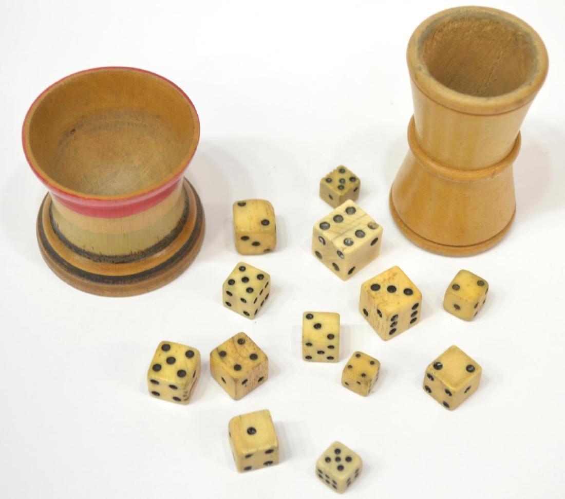 (15) ANTIQUE BONE DICE & WOOD DICE CUPS - 3