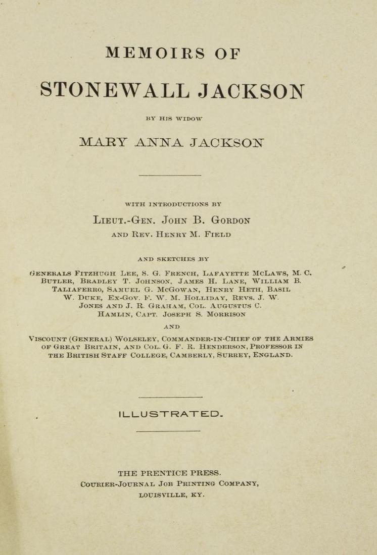 BOOK: MEMOIRS CSA GENL. STONEWALL JACKSON, 1880, - 4