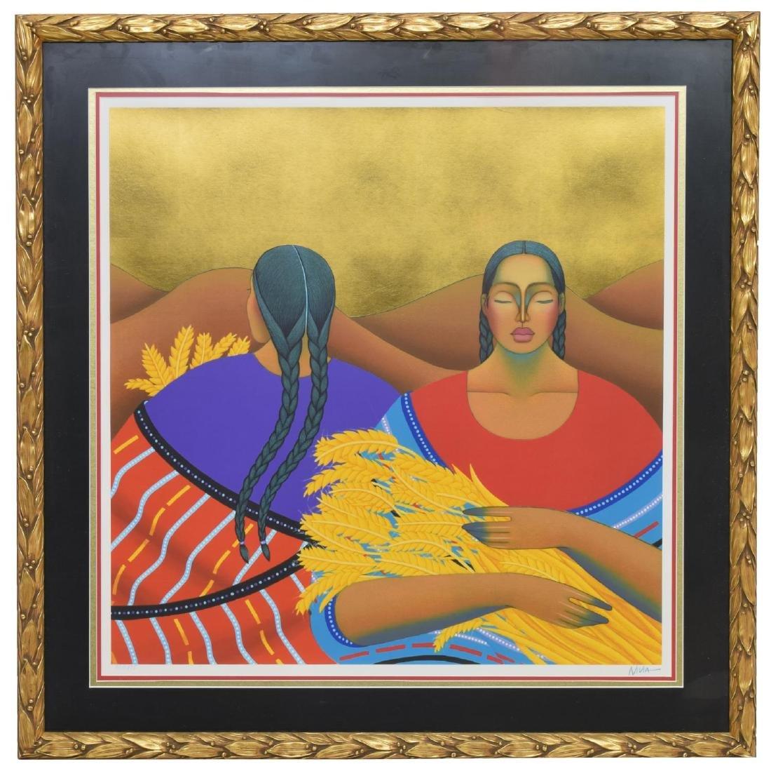 FRAMED NIVIA GONZALEZ (TX) GOLD LEAF SERIGRAPH - 2