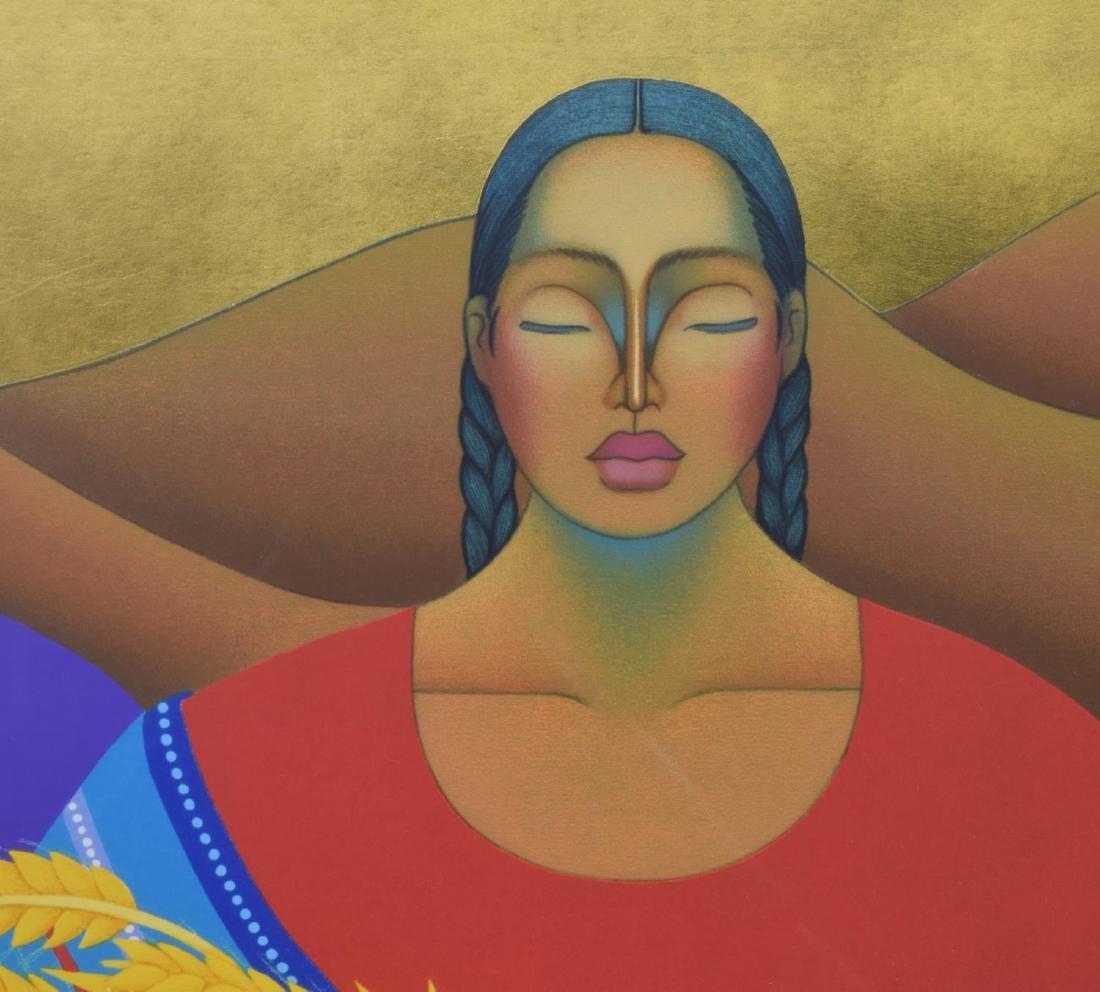FRAMED NIVIA GONZALEZ (TX) GOLD LEAF SERIGRAPH - 3