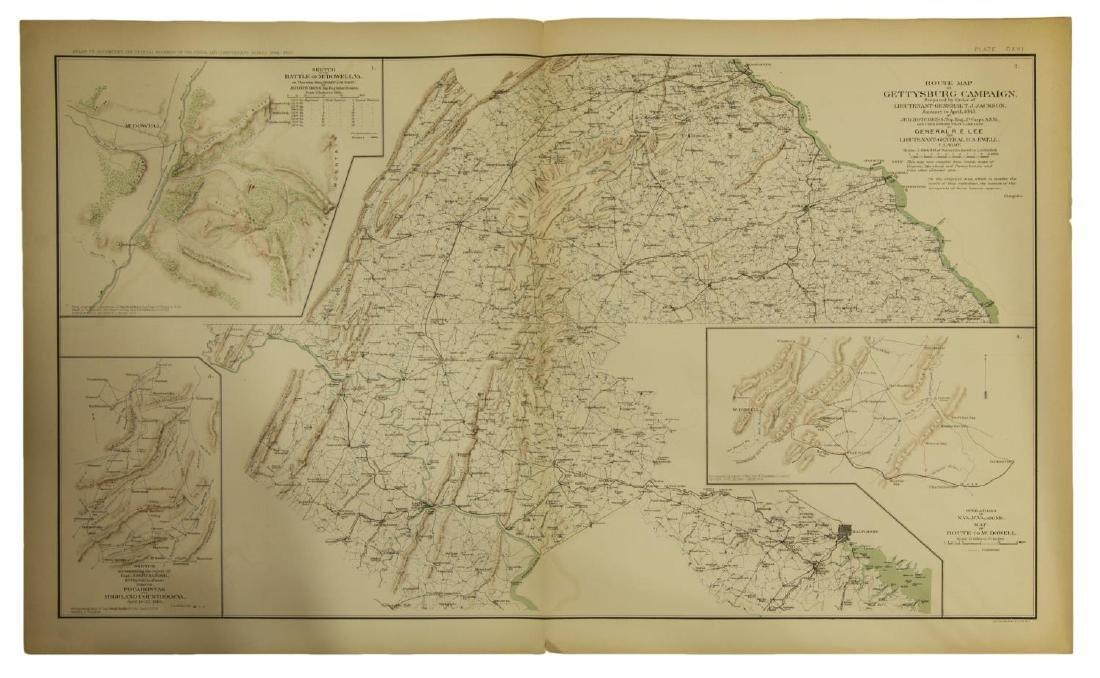 "(2) ""OFFICIAL"" 1892 GETTYSBURG CIVIL WAR MAPS - 7"