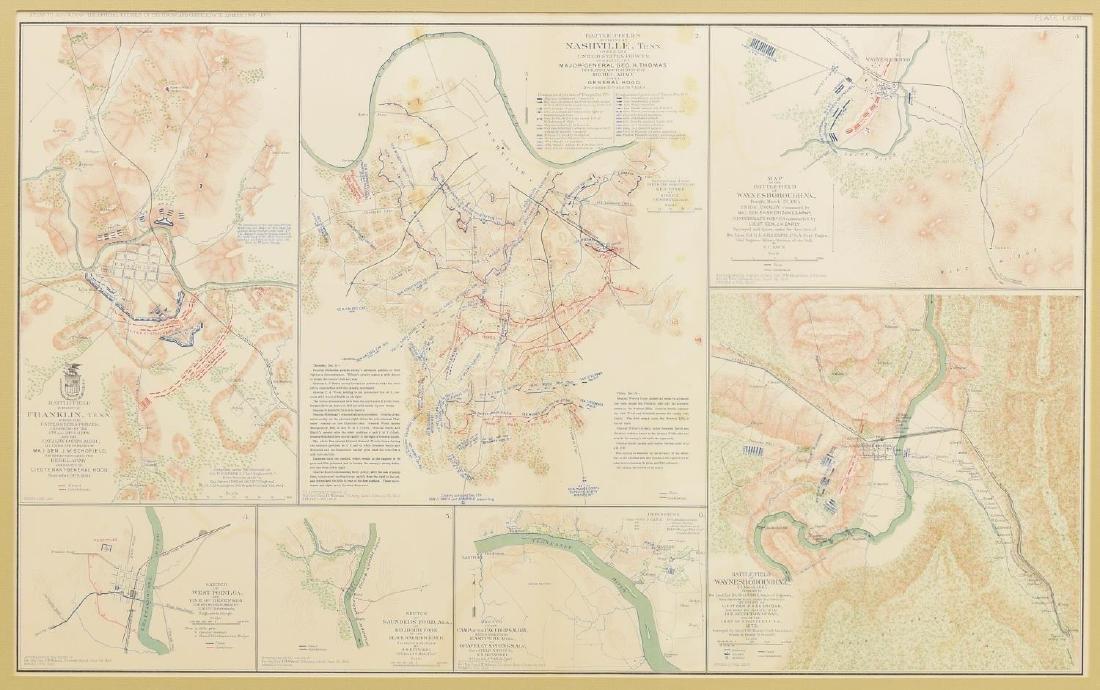FRAMED CIVIL WAR RECORDS MAP, NASHVILLE, MORE