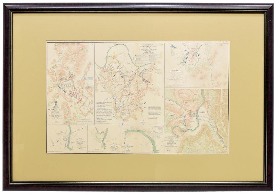 FRAMED CIVIL WAR RECORDS MAP, NASHVILLE, MORE - 2
