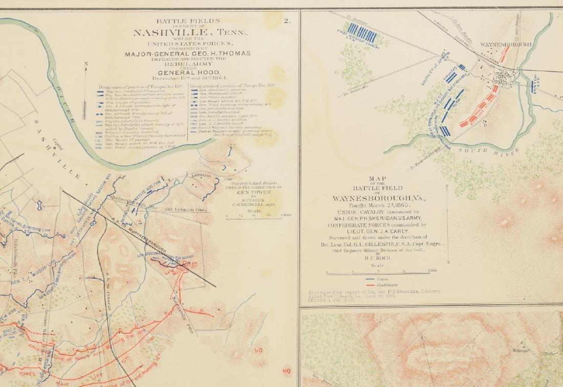 FRAMED CIVIL WAR RECORDS MAP, NASHVILLE, MORE - 3
