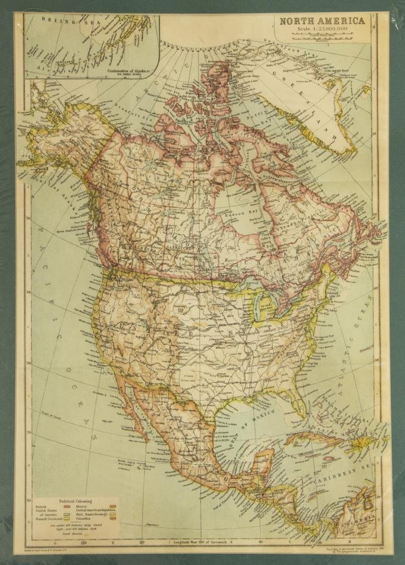 (2) UNITED STATES & NORTH AMERICA, 1910 MAPS - 2