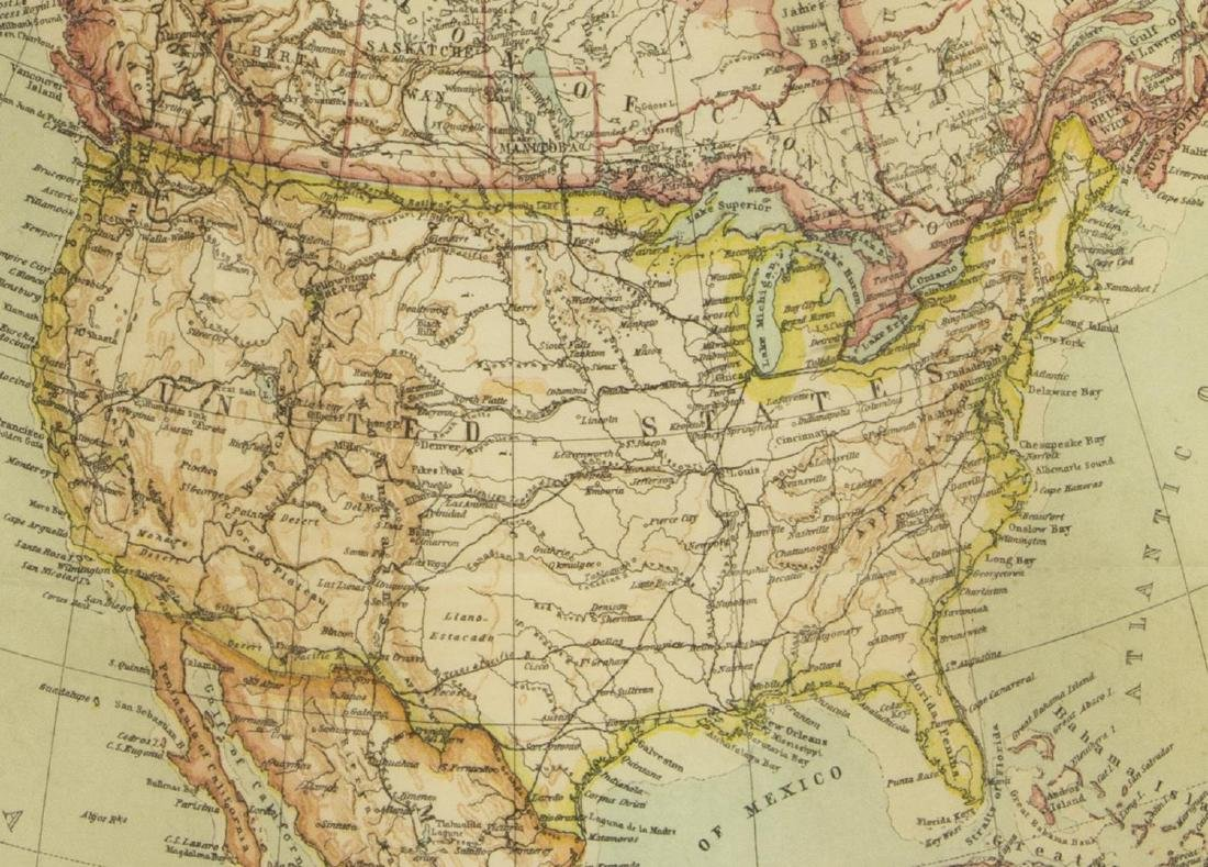 (2) UNITED STATES & NORTH AMERICA, 1910 MAPS - 6
