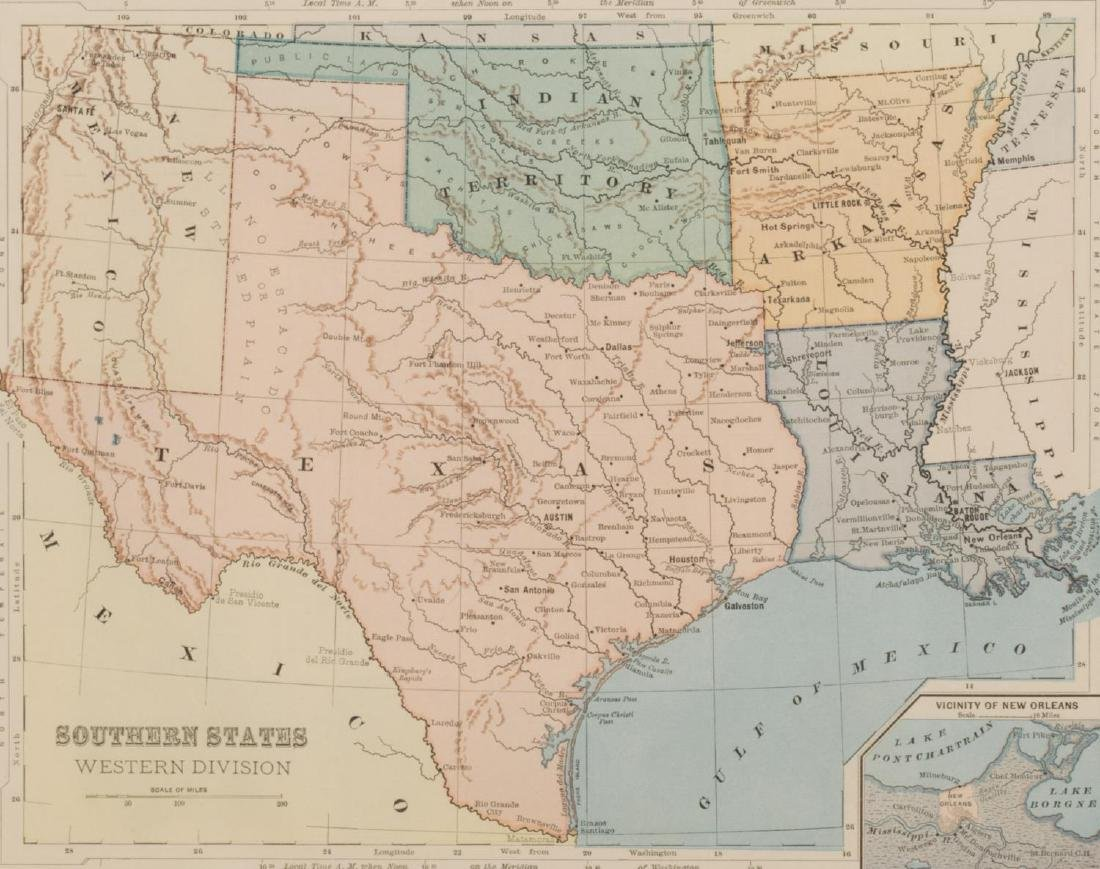 (2) 1860 MAP, MOSTLY TEXAS & SOUTHERN STATES MAP - 2