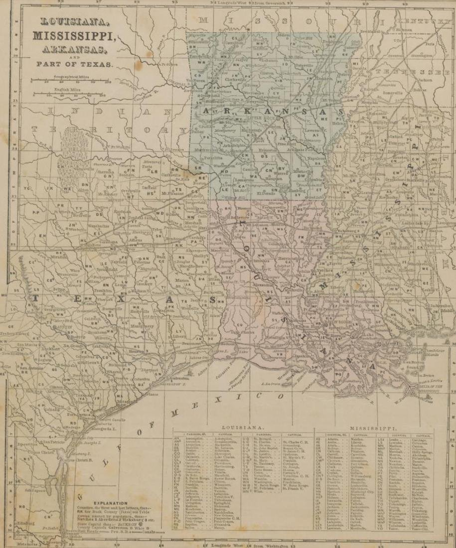 (2) 1860 MAP, MOSTLY TEXAS & SOUTHERN STATES MAP - 3