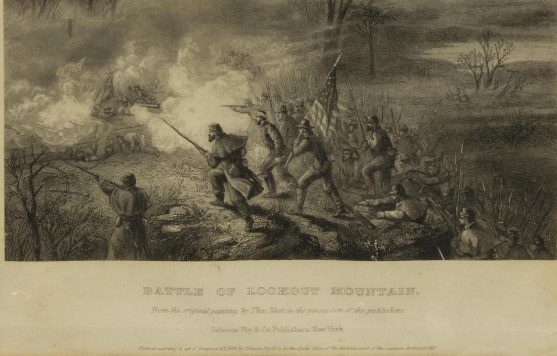 (4) CIVIL WAR ENGRAVINGS, LEE SURRENDER & BATTLES - 7