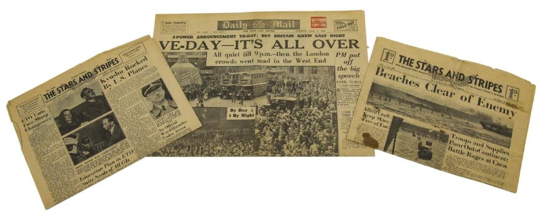 (3) WWII NEWS PAPERS, D-DAY, VE DAY, HIMMLER