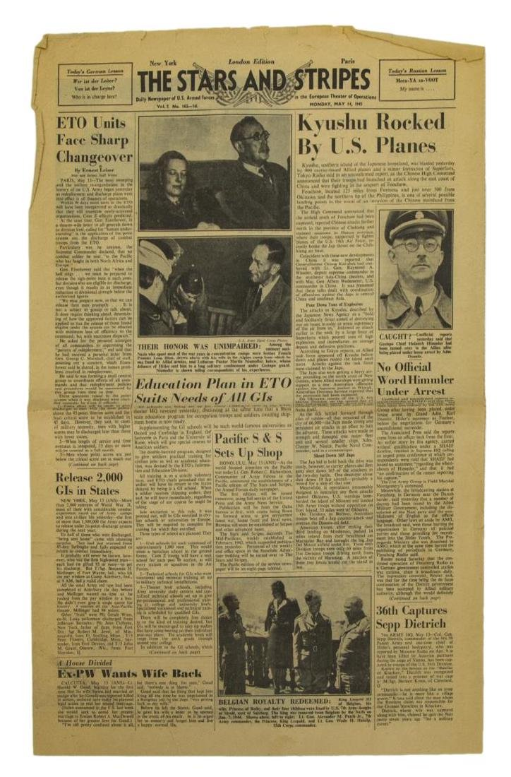 (3) WWII NEWS PAPERS, D-DAY, VE DAY, HIMMLER - 2
