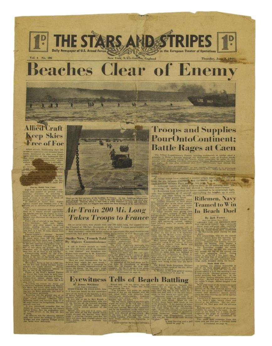 (3) WWII NEWS PAPERS, D-DAY, VE DAY, HIMMLER - 3