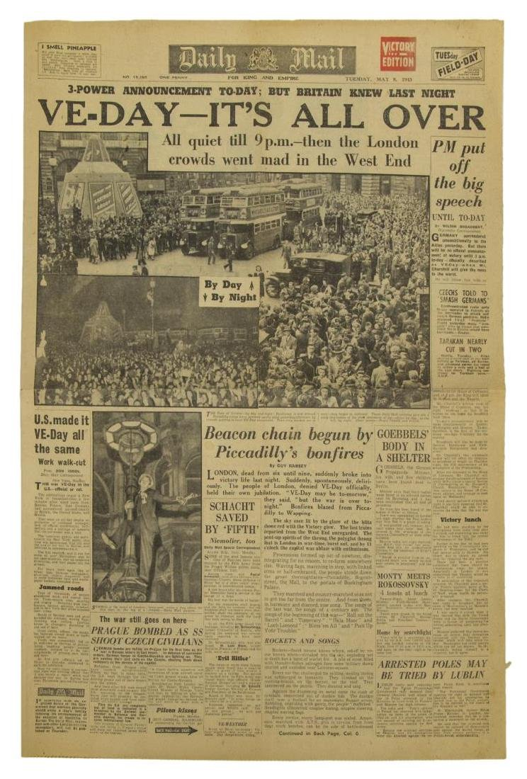 (3) WWII NEWS PAPERS, D-DAY, VE DAY, HIMMLER - 4
