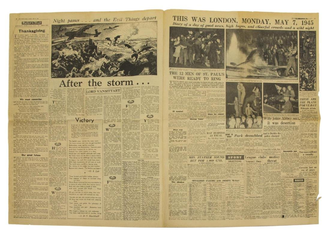 (3) WWII NEWS PAPERS, D-DAY, VE DAY, HIMMLER - 5