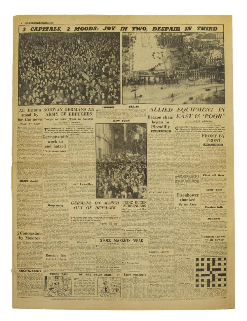 (3) WWII NEWS PAPERS, D-DAY, VE DAY, HIMMLER - 6