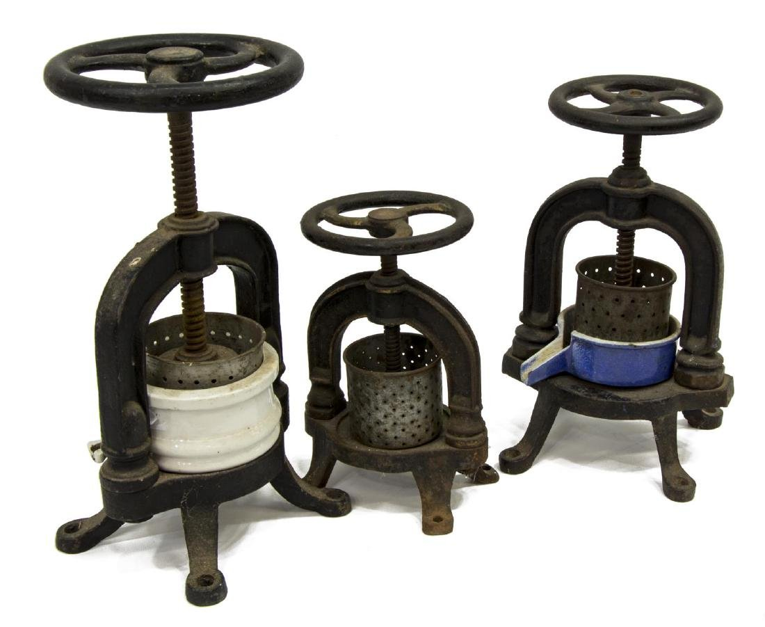 (3) FRENCH CAST IRON & PORCELAIN FRUIT PRESSES