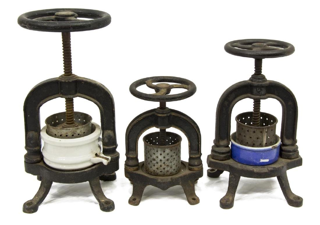 (3) FRENCH CAST IRON & PORCELAIN FRUIT PRESSES - 2