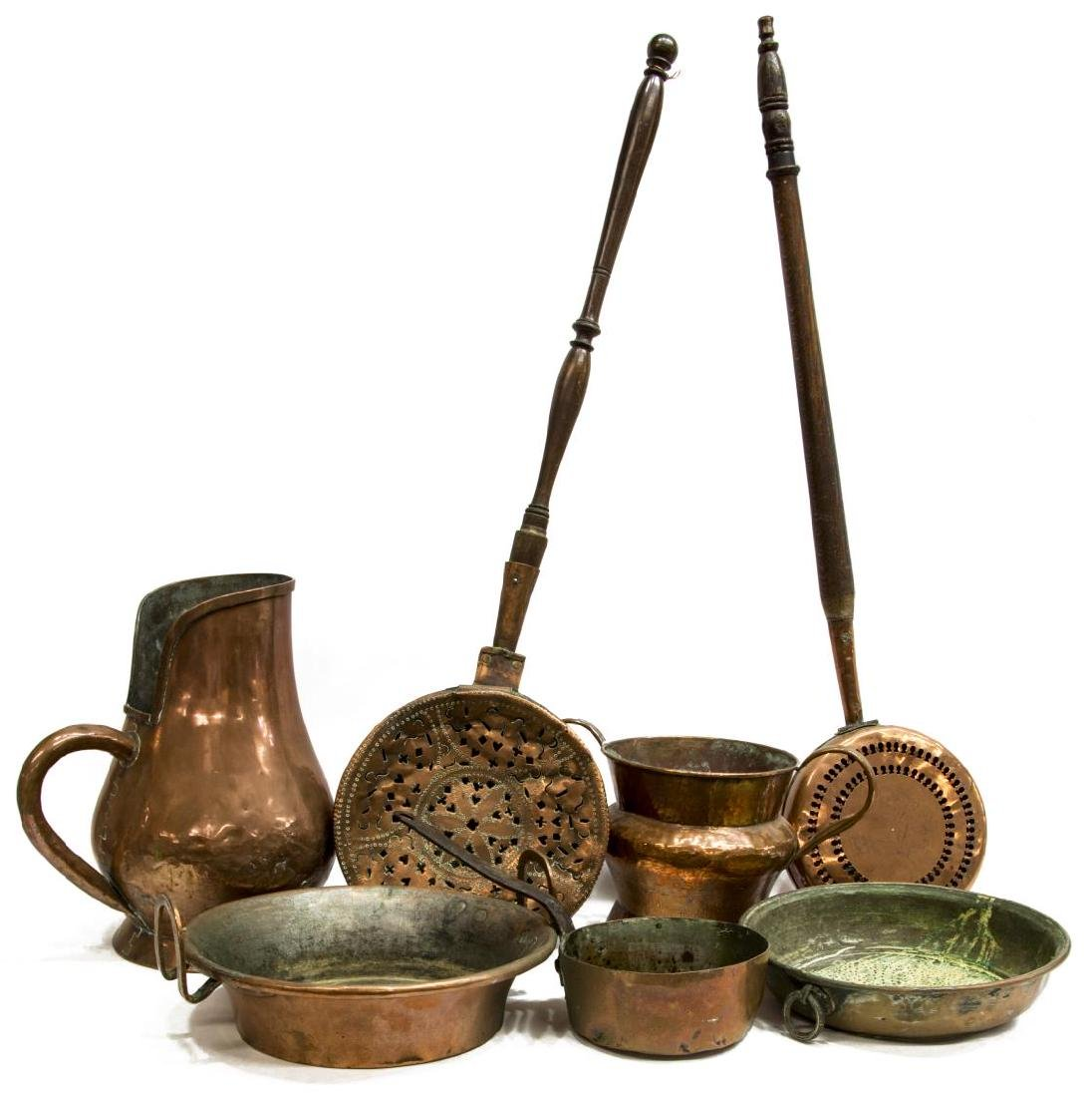 (7) FRENCH ANTIQUE COPPER PANS, JUG & BED WARMERS