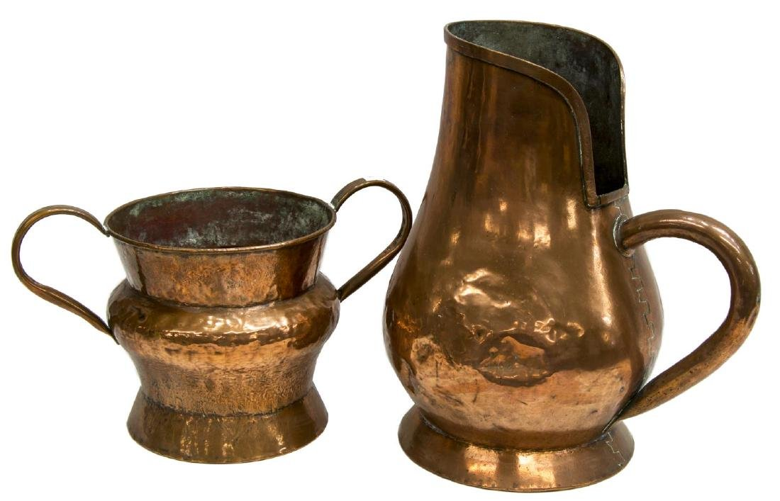 (7) FRENCH ANTIQUE COPPER PANS, JUG & BED WARMERS - 3