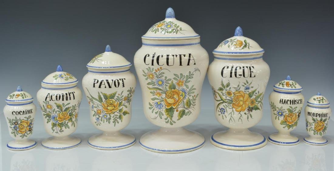 (7) FRENCH MEILLONNAS FAIENCE APOTHECARY JARS
