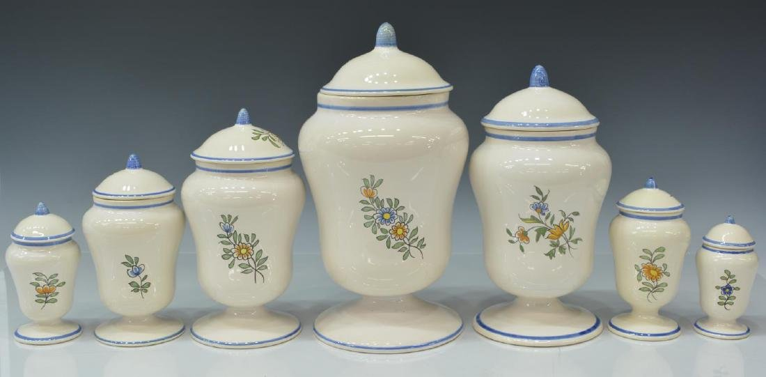 (7) FRENCH MEILLONNAS FAIENCE APOTHECARY JARS - 2