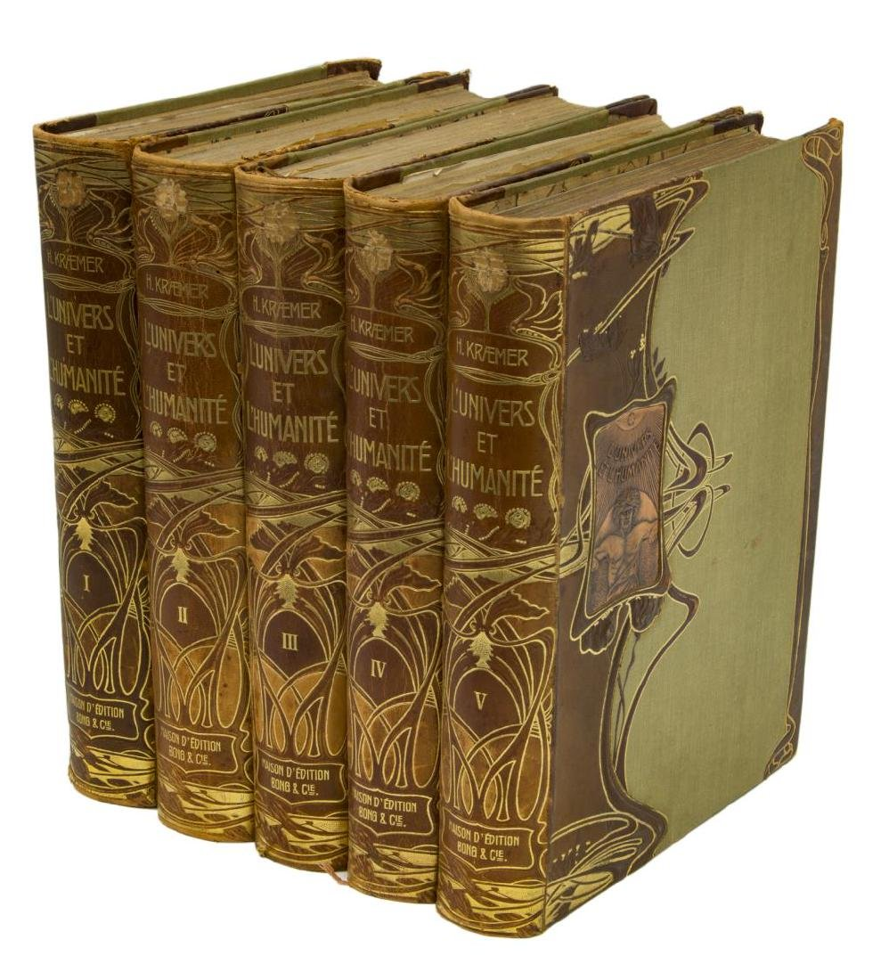 (5) FRENCH ART NOUVEAU LEATHER-BOUND BOOKS