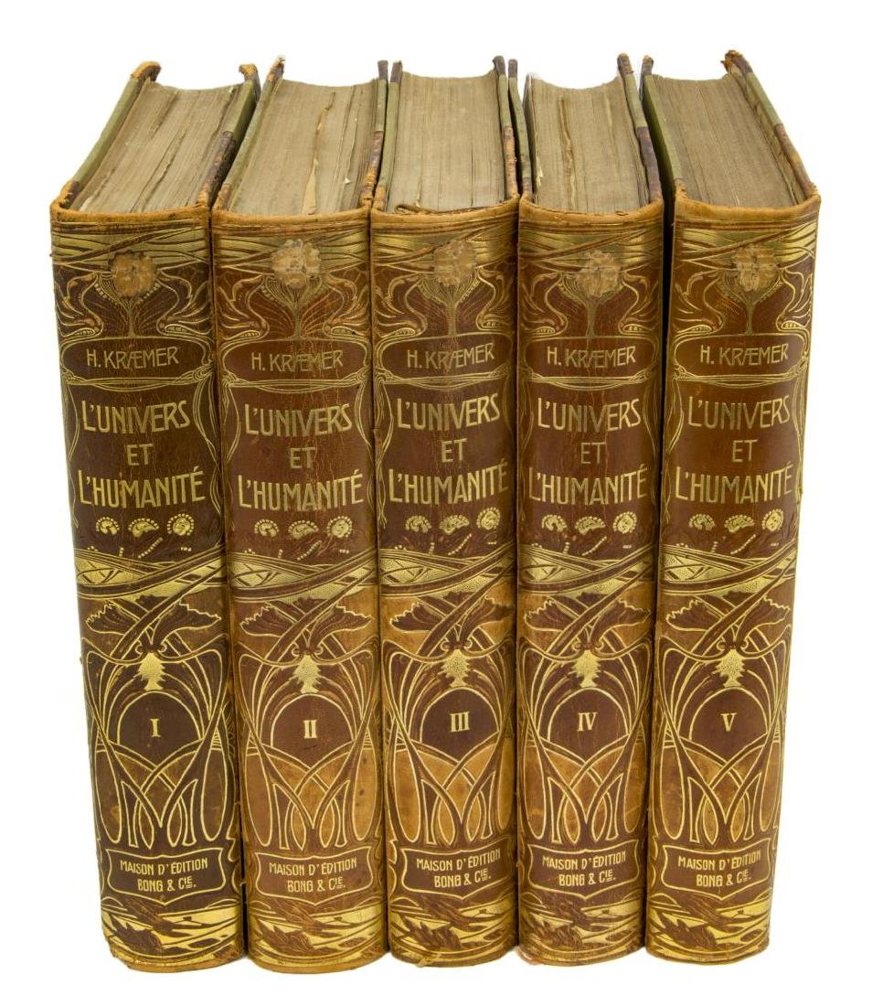 (5) FRENCH ART NOUVEAU LEATHER-BOUND BOOKS - 2