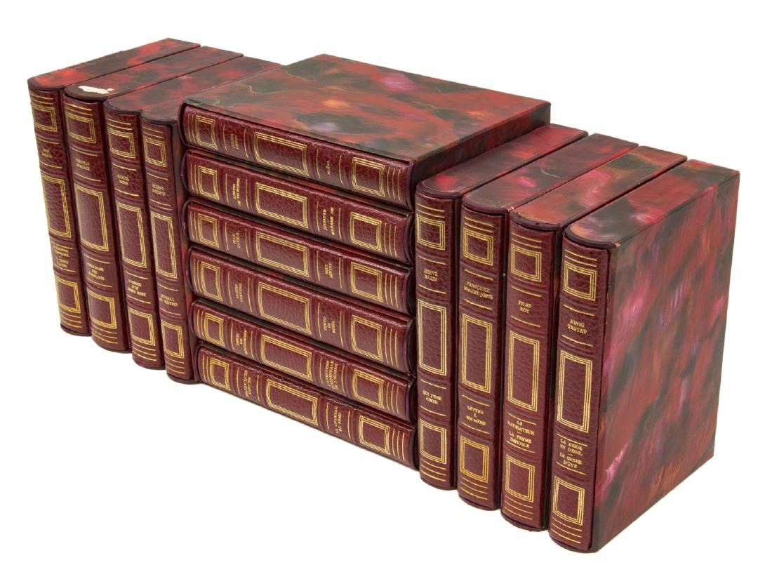 (14) FRENCH GILT RED LEATHER-BOUND LIBRARY BOOKS
