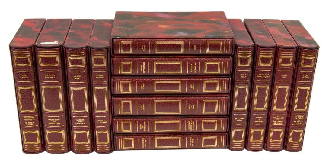 (14) FRENCH GILT RED LEATHER-BOUND LIBRARY BOOKS - 2