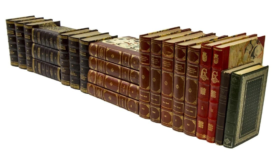 (22) DANISH LEATHER-BOUND HARDCOVER LIBRARY BOOKS