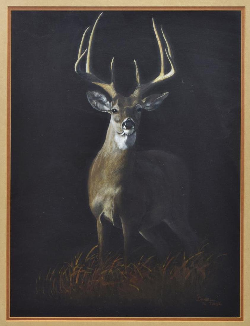 FRAMED PAINTING WHITE-TAILED DEER SIGNED S. DANIEL
