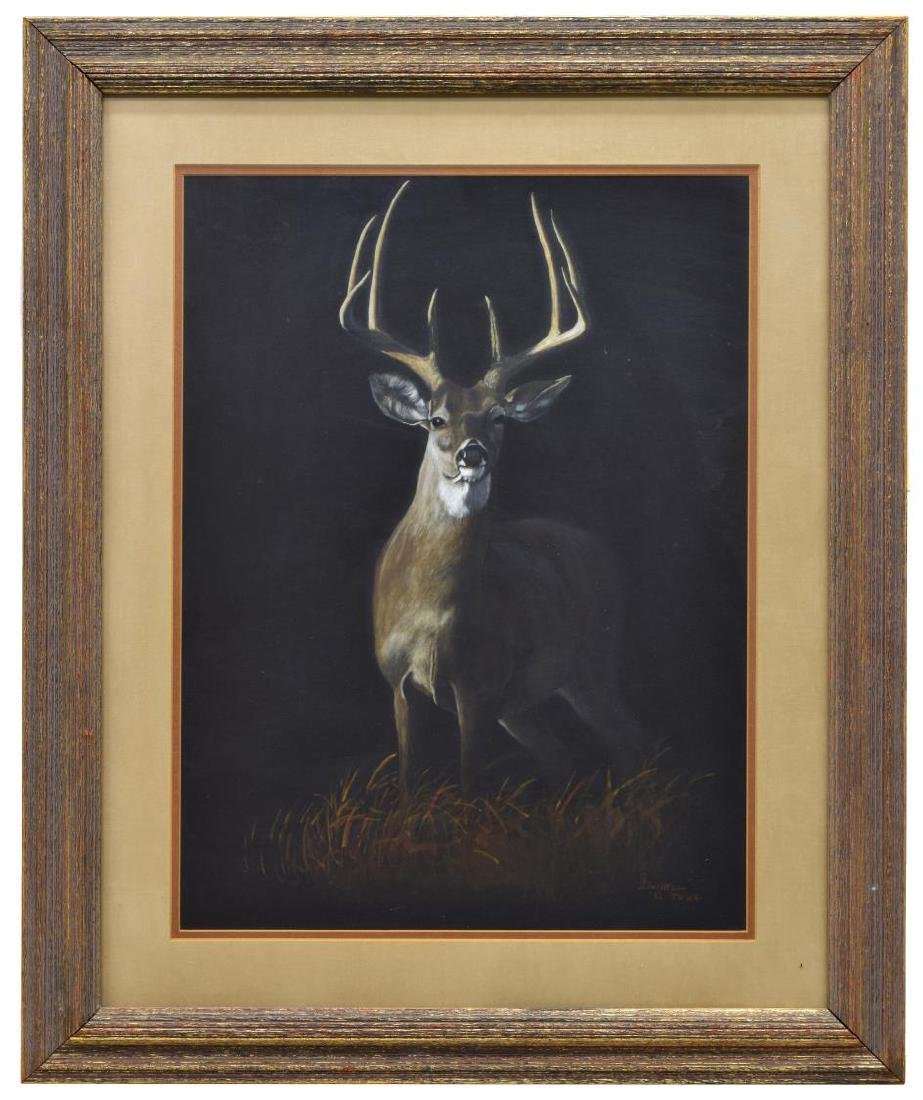 FRAMED PAINTING WHITE-TAILED DEER SIGNED S. DANIEL - 2