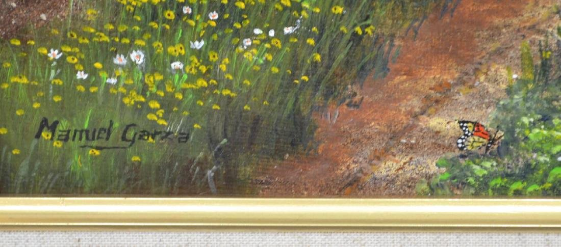 MANUEL GARZA (TEXAS, B.1940) FRAMED OIL PAINTING - 3