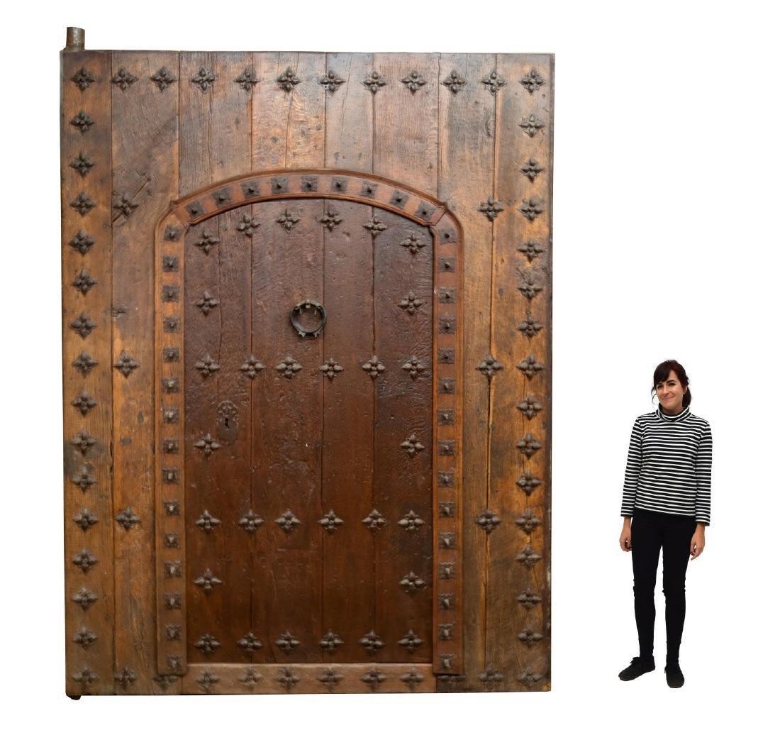 MONUMENTAL 18TH C. SPAIN IRON & WOOD DOOR & FRAME
