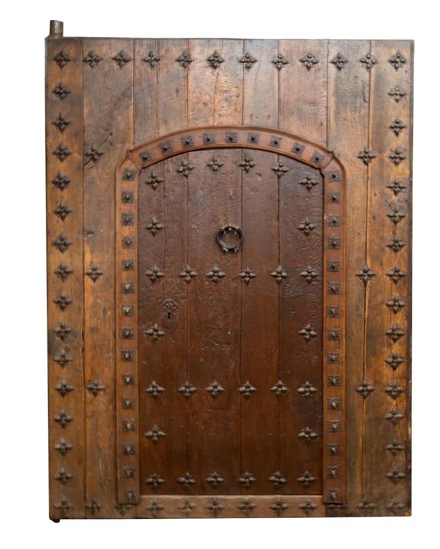 MONUMENTAL 18TH C. SPAIN IRON & WOOD DOOR & FRAME - 2