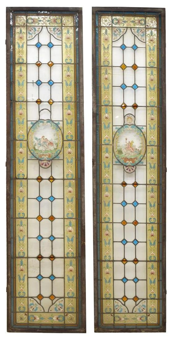 (2) ARCHITECTURAL STAINED GLASS WINDOW PANELS