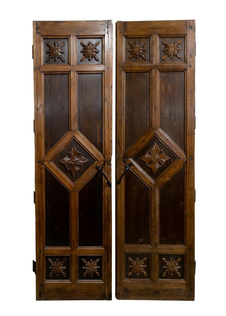 (PR) ARCHITECTURAL FOLIATE CARVED PINE DOOR SET