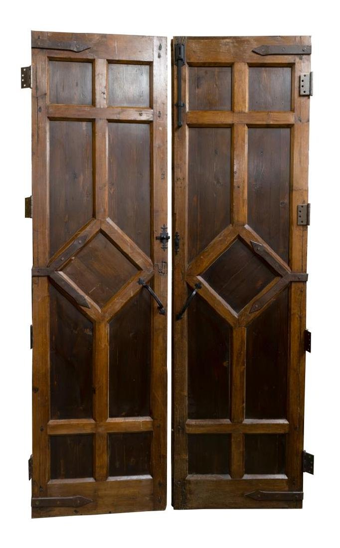 (PR) ARCHITECTURAL FOLIATE CARVED PINE DOOR SET - 2