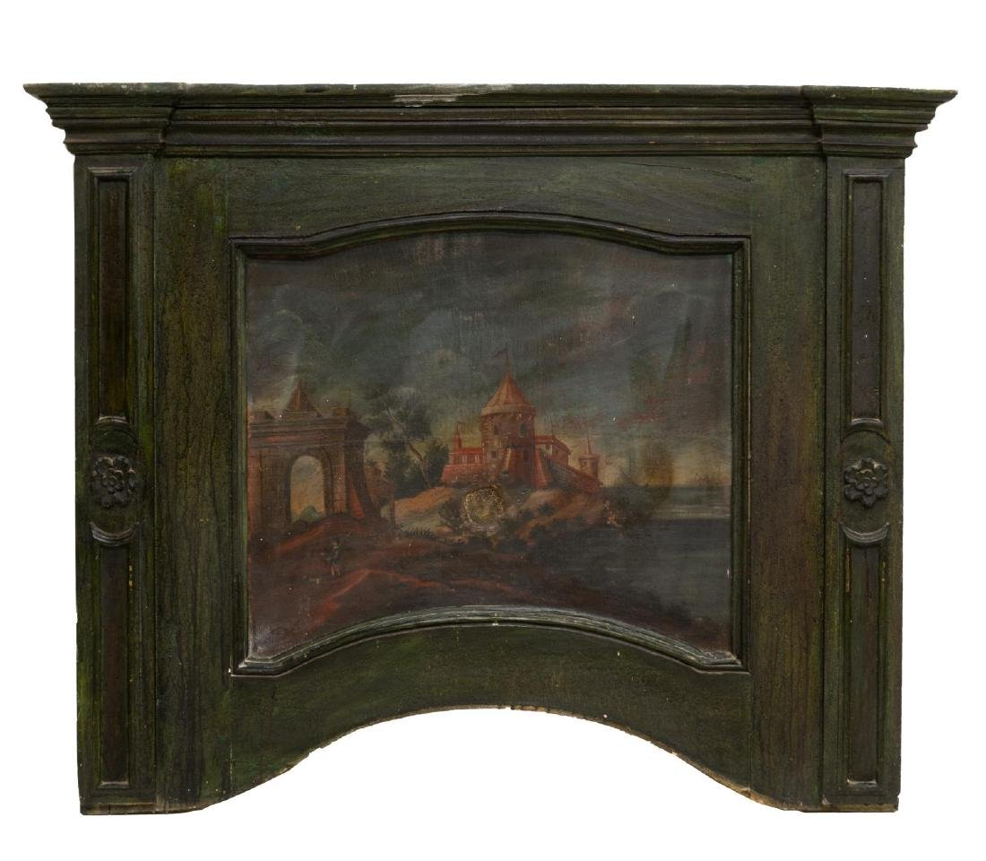 ITALIAN ARCHITECTURAL PANEL W/ INSET OIL PAINTING