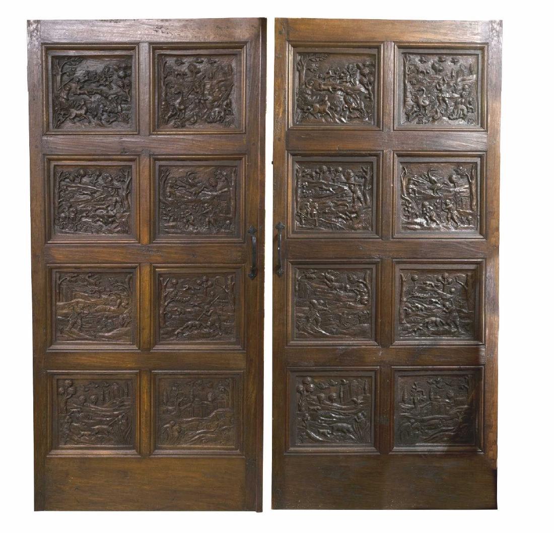 PAIR ARCHITECTURAL FIGURAL HUNT SCENE OAK DOORS