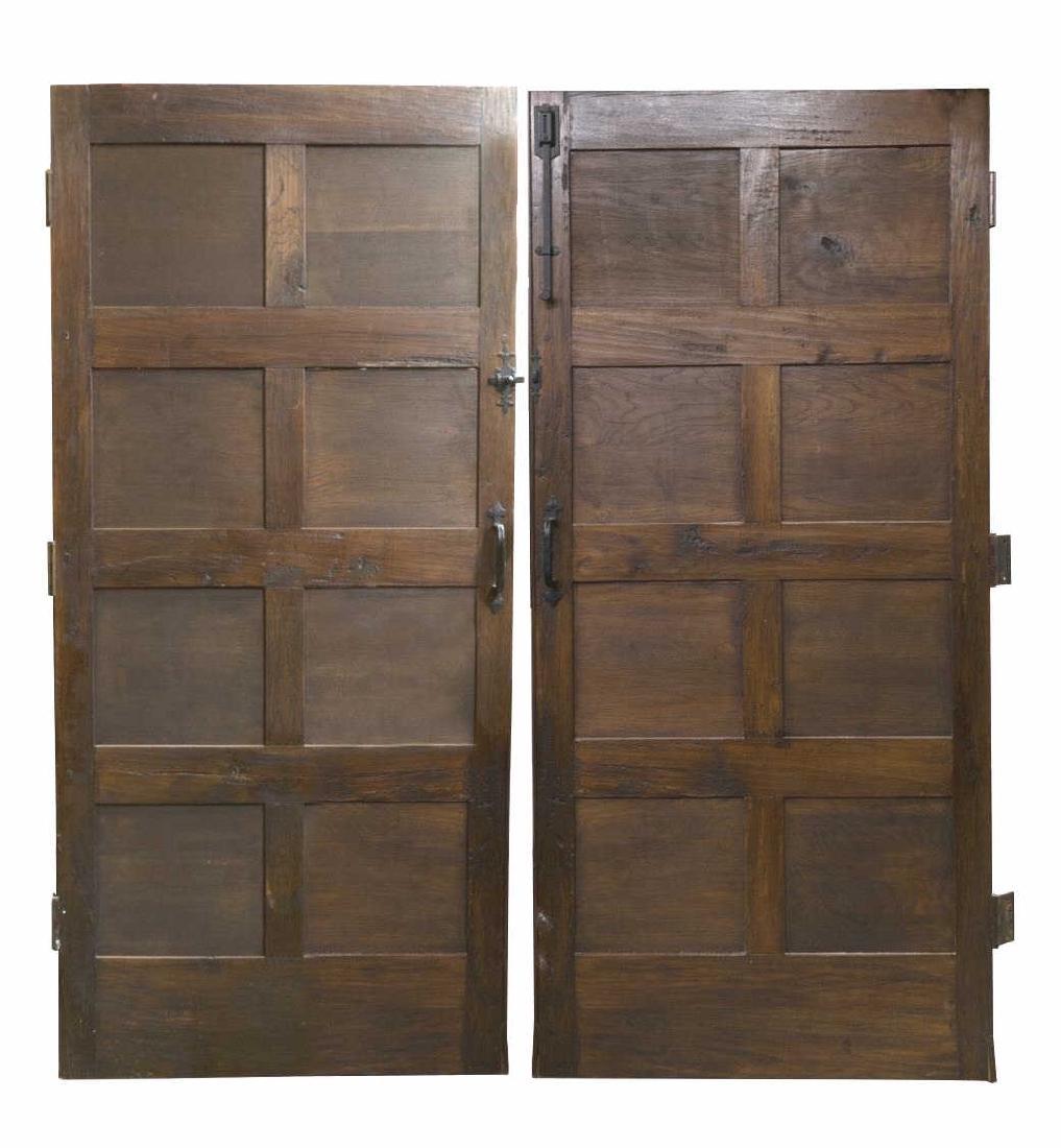 PAIR ARCHITECTURAL FIGURAL HUNT SCENE OAK DOORS - 2