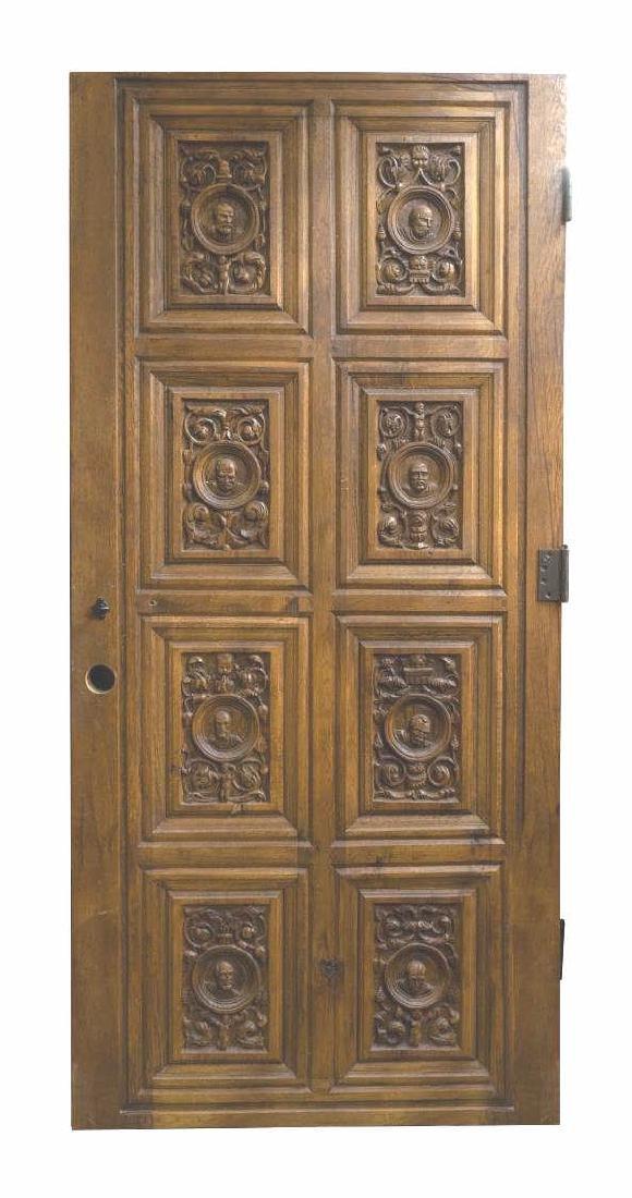 ARCHITECTURAL FIGURAL CARVED PANELED OAK DOOR